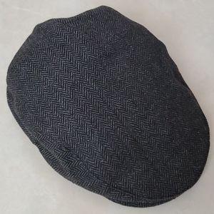 NWOT Brixton Gray-Black Herringbone Hat Sz L-7 1/2